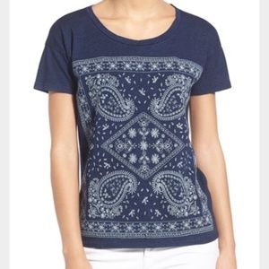 Lucky Brand • Blue Embroidered Paisley Tee XS